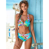 Sexy Push Up Bikini 2020 Two Piece Swimsuit Women Halter Floral High Waist Bikini Set Plus Size Brazilian Swimwear Bathing Suit