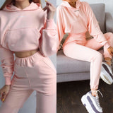 New Fashion Long-Sleeved Sports Casual Suit Solid Casual Tracksuit 2 Pieces Set Sweatshirts Pullover Hoodie Suit Outfits Women