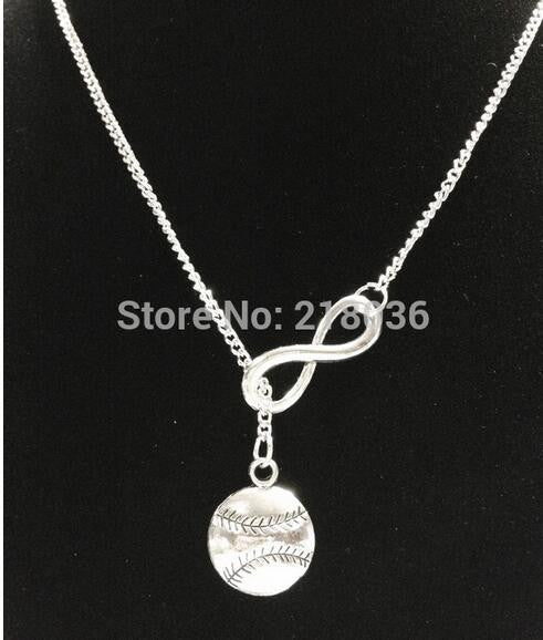 Silver Infinity lariat Baseball Softball Chain Vintage Necklaces Pendant Woman Charms Choker Necklace Jewelry Fashion  Gifts