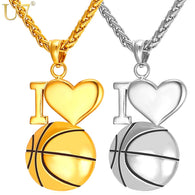 U7 I Love Basketball Necklace Gold Color 316L Stainless Steel Chain & Pendant For Men/Women Hot Sport Fashion Jewelry P910
