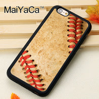 MaiYaCa Baseball Ball Texture Leather Sport Printed Soft Rubber Skin Phone Cases For iPhone 6 6S Plus 7 Plus 5 5S SE Back Cover