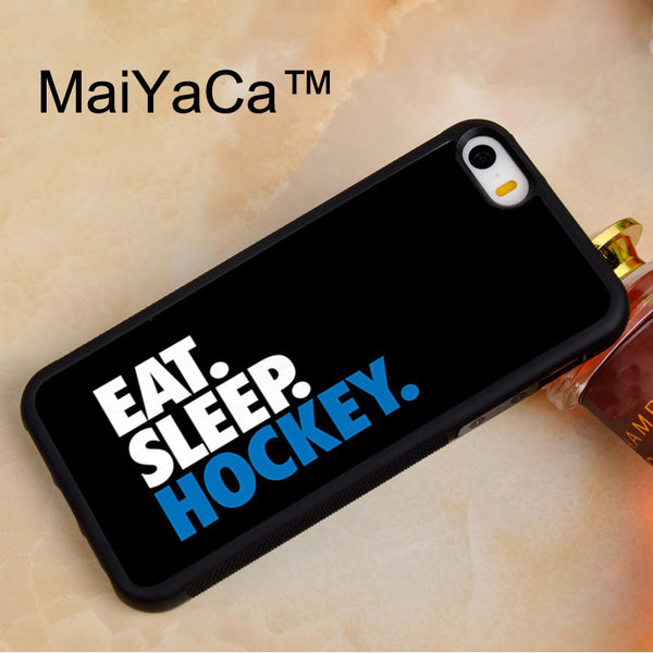 MaiYaCa Eat Sleep Hockey  Soft TPU Phone Case For iPhone 5 5s Rubber Back Cover For iPhone SE Phone Bag Case Cover