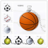 VERDVE 2018 New Fashion Basketball Basketball Baseball Soccer Photo Crystal Glass Pendant Necklace Jewelry