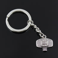 new fashion men 30mm keychain DIY metal holder chain vintage basketball hoop 20*19mm antique silver pendant