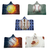 Hooded Blanket Baseball Style Home Blanket Children's  Throw Blanket Microfiber