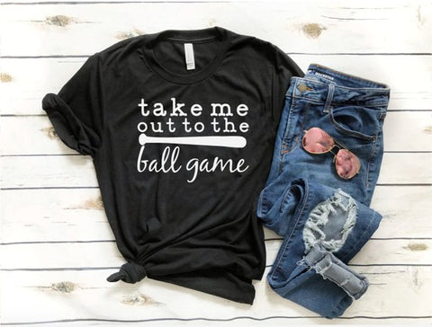 Take Me Out To The Ball Game T-Shirt Hipster Baseball Game Women Tee Casual Letter Slogan Cotton Tops Graphic Vintage Shirts