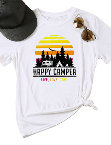 Women Happy Camper Live Love Camp Vintage Graphic Printed Workout T-shirts Casual Tees Tops