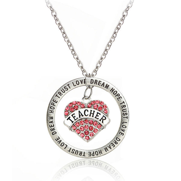 Vintage Silver Pink/White Crystal Rhinestone Love Heart for Teacher Dream Hope Trust Words Pendant Necklace Teachers' Gifts