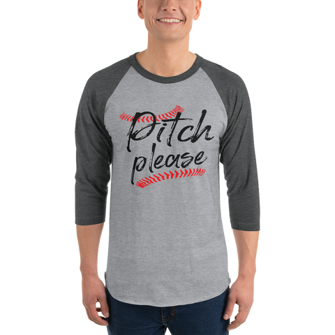 baseball pitch please 3/4 sleeve raglan shirt