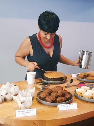 Uppma Virdi with her cakes and baking recipes