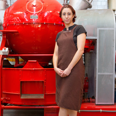 Samanta-bajkker-melbourne-chocolatier-standing-in-front-of-chocolate-machine