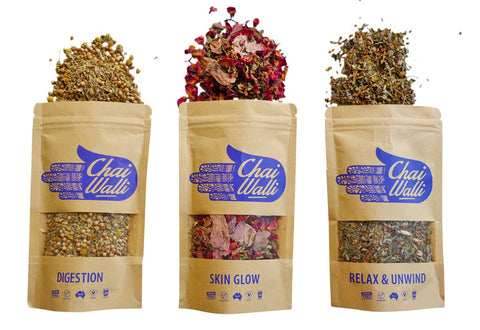 Ayurvedic herbal tea range with three products