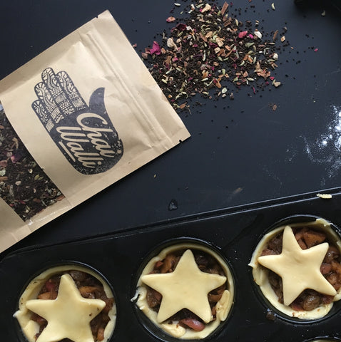 Chai Walli bag next to filled fruit mince pies