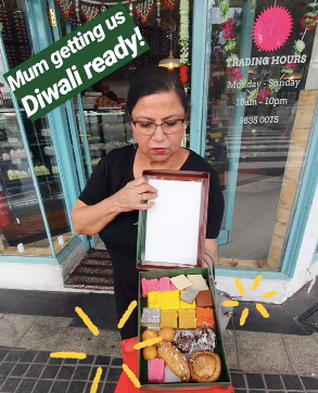 Mum with Diwali sweets