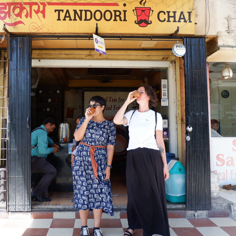 Uppma and Kayla drinking chai in Mumbai India