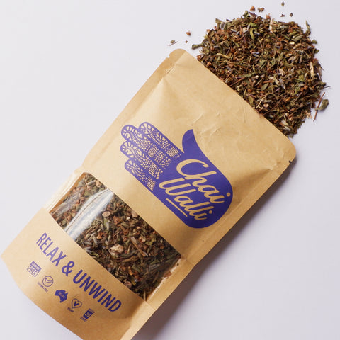 Relax and Unwind ayurvedic herbal tea from award winning chai walli