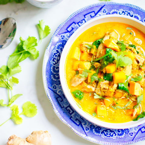 golden curry in a blue bowl