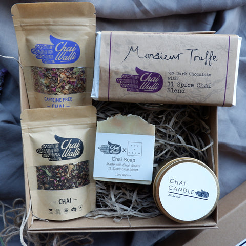 Ultimate Chai Treats Pack from Chai Walli. Chai Chocolate, soap, candle and loose leaf tea in a box