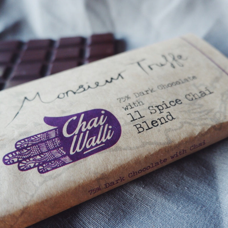 Chai Walli Chai Chocolate bar with its cover on top showing the Chai Walli logo