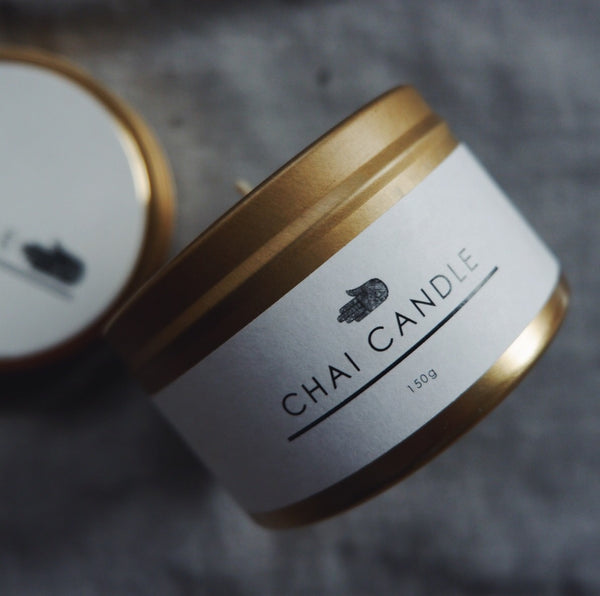Chai Walli Chai Candle in its golden jar with the label on