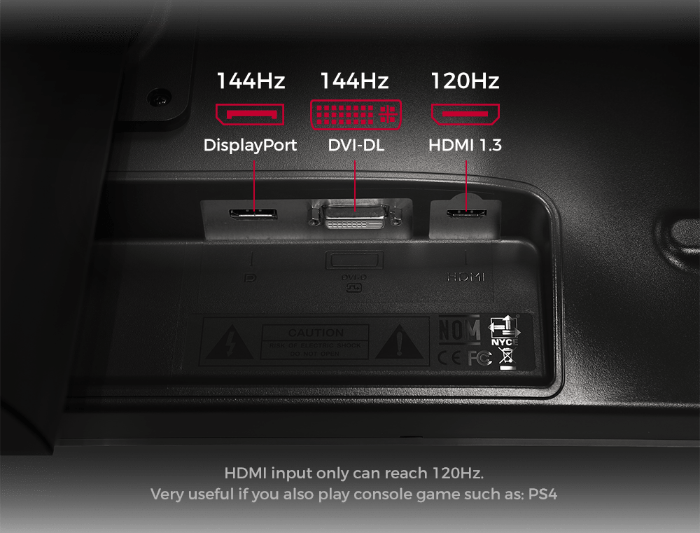 BenQ Zowie gaming monitor multi-connection inputs - xl2411p
