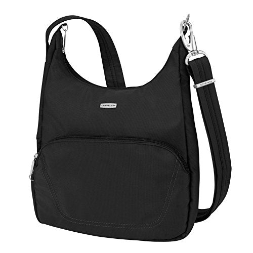 Travelon Anti-Theft Classic Essential Messenger Bag, Black (Black) - 42457 500 - yrGear