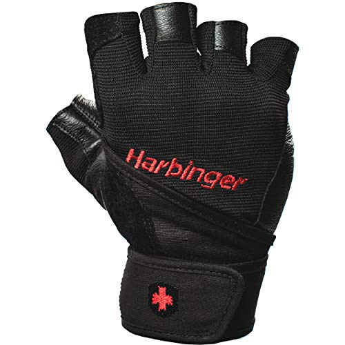 Harbinger Pro Wristwrap Weightlifting Gloves with Vented Cushioned Leather Palm (Pair), Small - yrGear