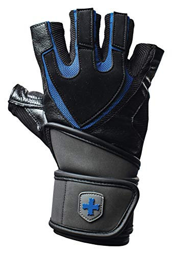 Harbinger Training Grip Wristwrap Weightlifting Gloves with TechGel-Padded Leather Palm (Pair), Large - yrGear Australia