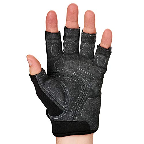 Harbinger Men's BioFlex Elite Weightlifting Gloves with Padded Leather Palm (1 Pair), Mens, Men's BioFlex Gloves, Gray, Medium (Fits 7.5-8 inches) - yrGear
