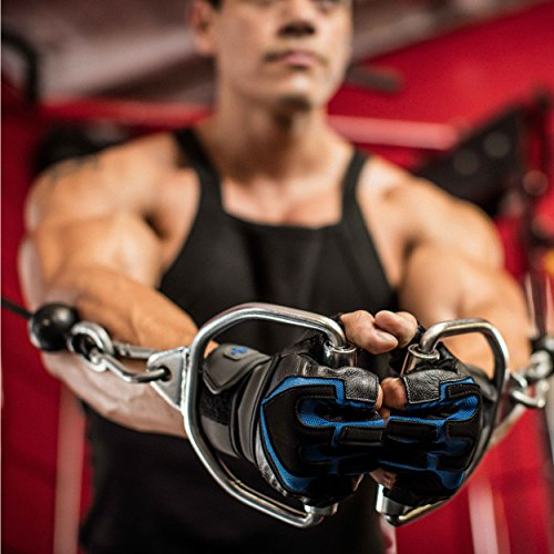 Harbinger Training Grip Wristwrap Weightlifting Gloves with TechGel-Padded Leather Palm (Pair), Large - yrGear