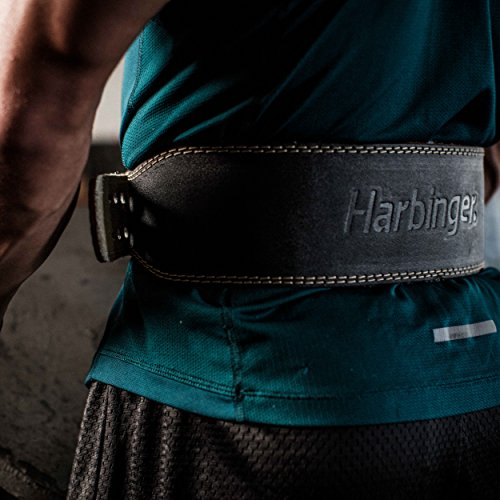 Harbinger Padded Leather Contoured Weightlifting Belt with Suede Lining and Steel Roller Buckle, 4-Inch, Medium - yrGear