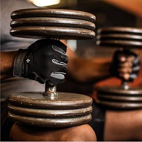 Harbinger Pro Non-WristWrap Vented Cushioned Leather Palm Weightlifting Gloves, Pair, Large - yrGear