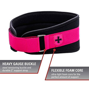 Harbinger Women's Nylon Weightlifting Belt with Flexible Ultralight Foam Core, 5-Inch, Pink, X-Small - yrGear