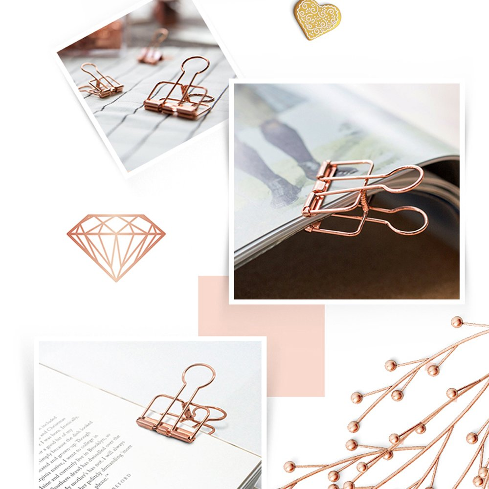 Rose Gold Hollow Binder Clips + Paperclips (75 Pack) - yrGear Australia