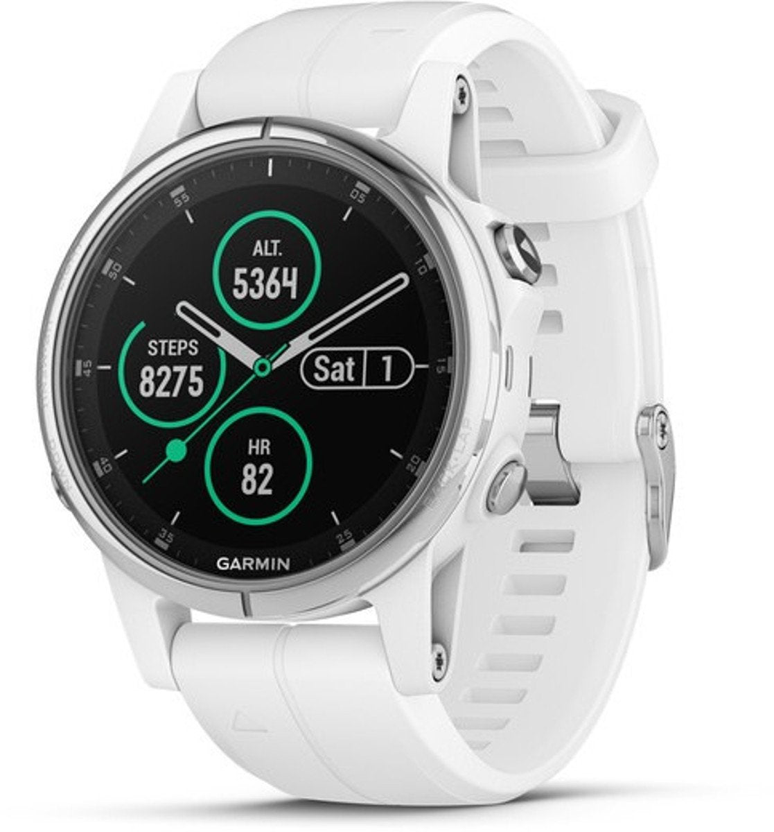 Garmin 010-01987-08 Fenix 5S Plus, Sapphire, White With White Band - yrGear