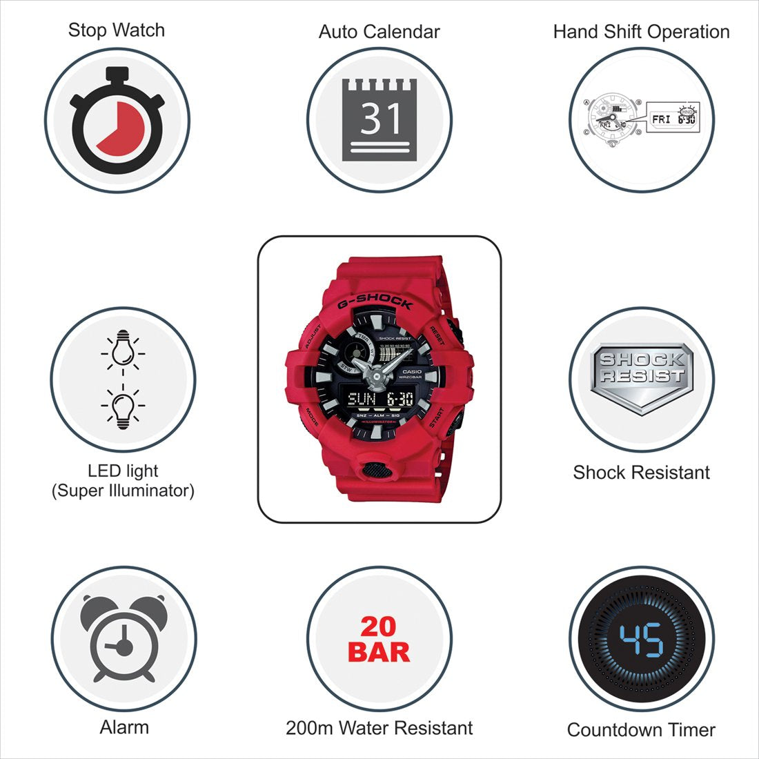 GSHOCK Men's Automatic Wrist Watch analog-digital Display and Resin Strap GA700-4A - yrGear Australia