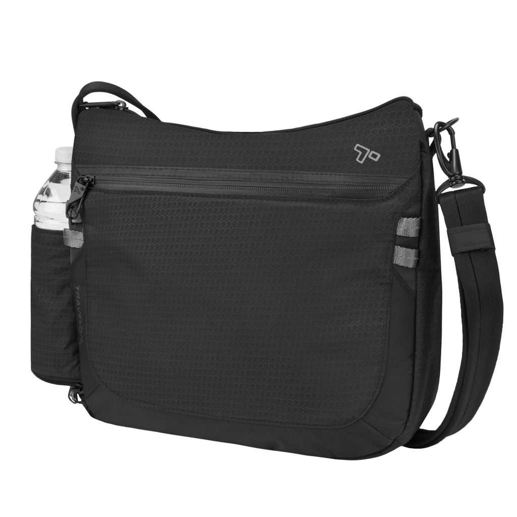 Travelon Anti-Theft Active Medium Crossbody Messenger Bag, Black (Black) - 43128 500 - yrGear