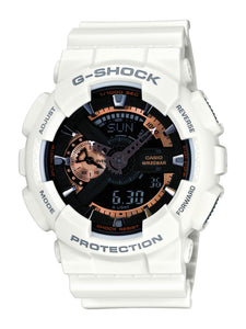 Casio Men's XL Series G-Shock Quartz 200M WR Shock Resistant Resin Color: White with Rose Gold Accents (Model GA-110RG-7ACR) - yrGear