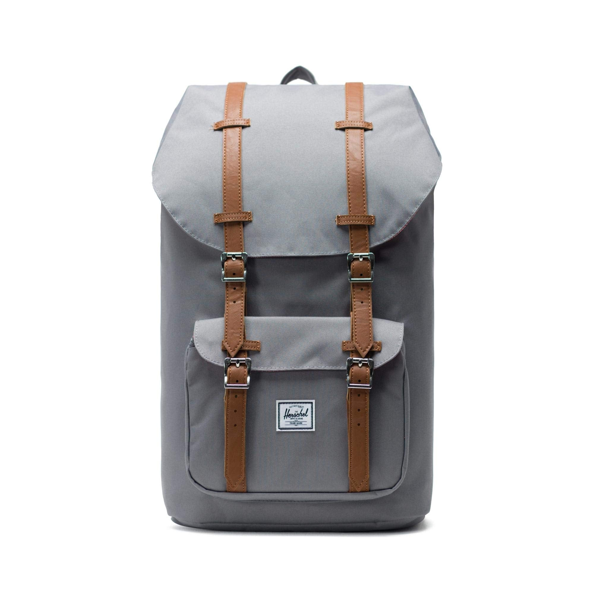 Herschel Little America Backpack-Grey, Tan Synthetic Leather - yrGear
