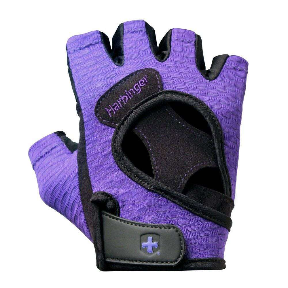 Harbinger Women's Flexfit Weightlifting Gloves with Flexible Cushioned Leather Palm (Pair), Purple, Medium - yrGear Australia