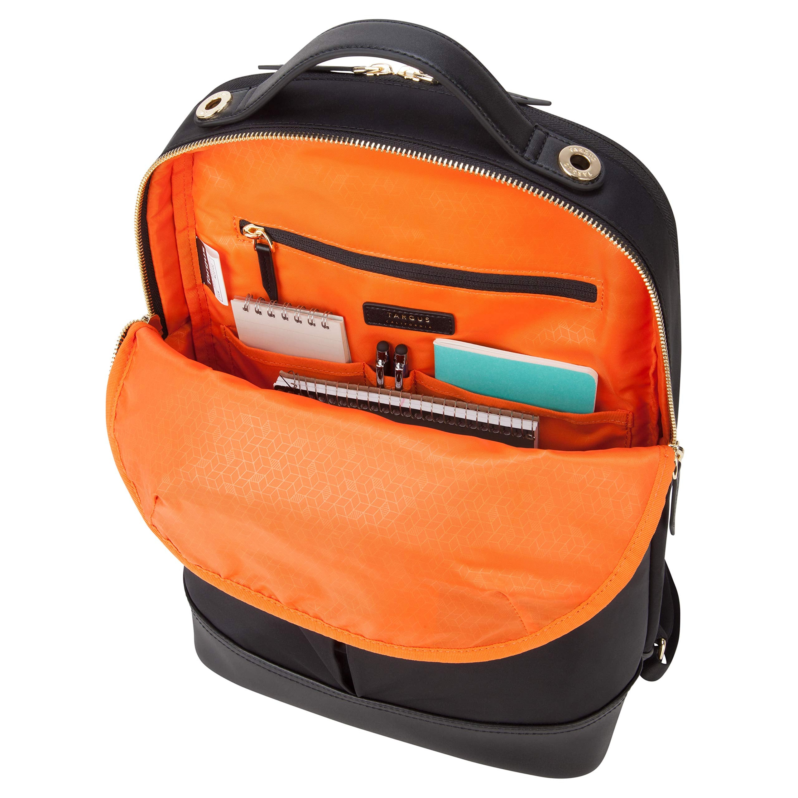 Zippered pockets in Targus backpack for laptop