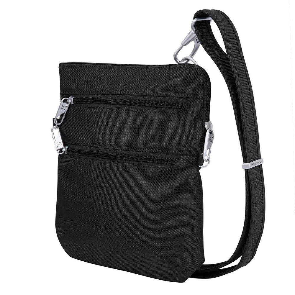 Travelon Anti-Theft Classic Slim Dbl Zip Crossbody Bag, Black (Black) - 43116 500