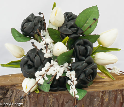 BLACK LEATHER ELEGANCE, DARLA ... Black Leather Handmade Bouquet.