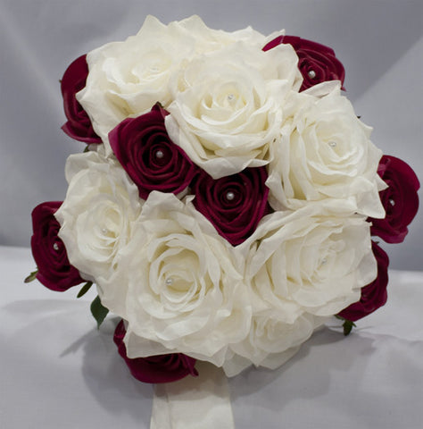CREAM SILK OPEN ROSE BOUQUET, CASSIE ... with Real Touch Deep Red Rose Buds