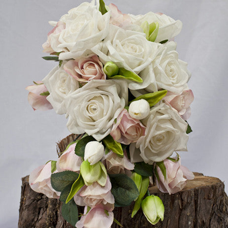 ROMANTIC CASCADING BOUQUET ... LAURA, Real Touch & Silk Wedding Bouquet