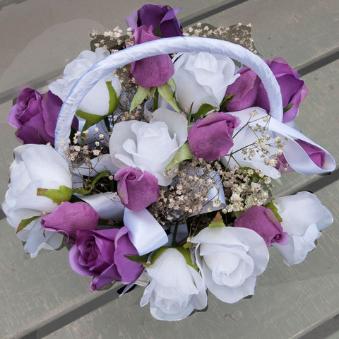 White, Mauve & Purple Flower-girl White Cane Basket