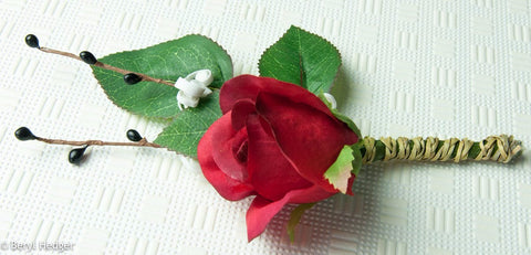 Red Silk Rose Bud, Hand-made