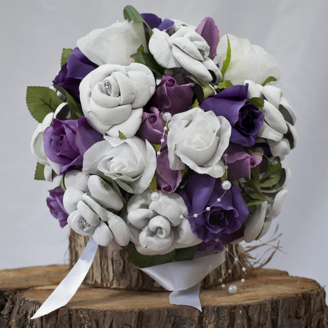WHITE LEATHER HAND-MADE ROSE BOUQUET ... 'LILA' with Purple Silk Rose Buds