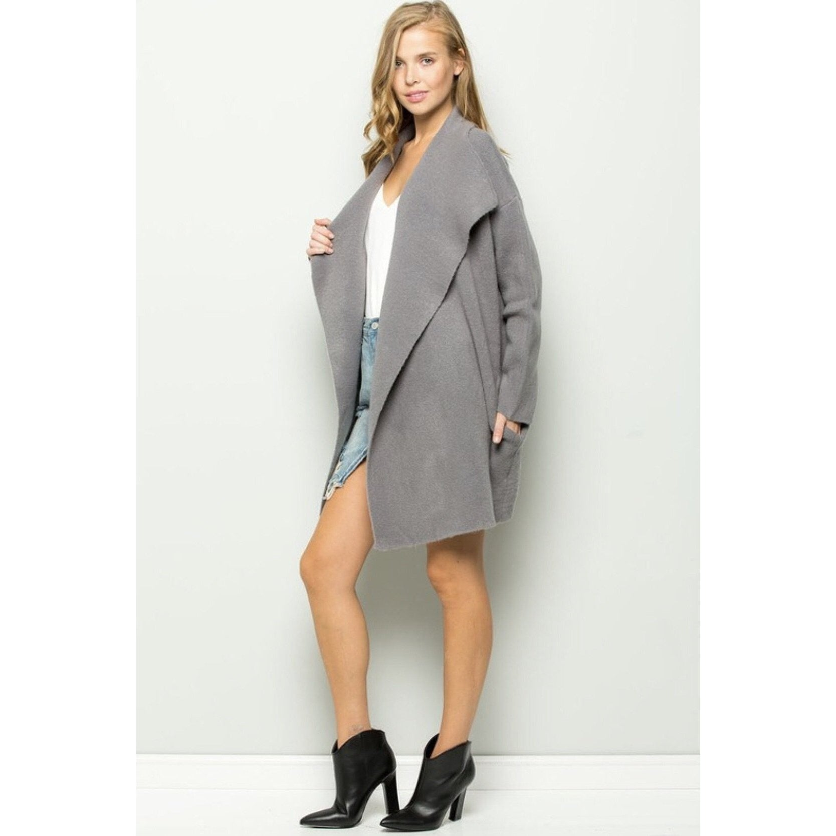 Grayscale Open Cardigan
