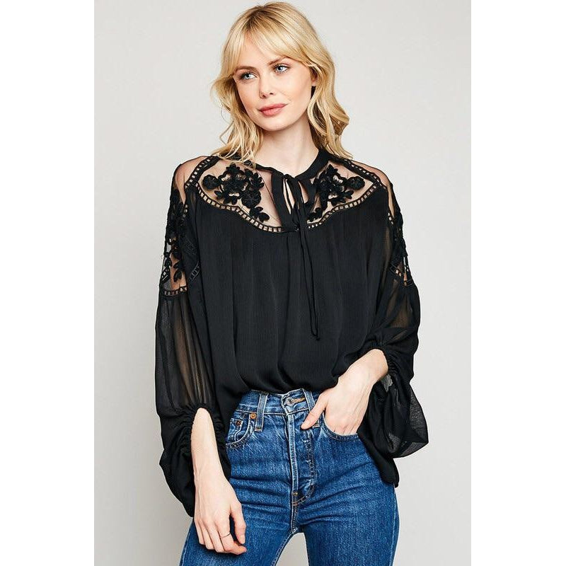 Laced Black Sheer Top